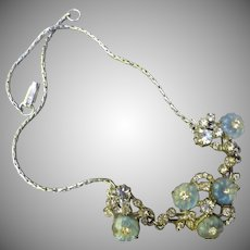 Beautiful Vintage Glass and Crystal Silver Necklace