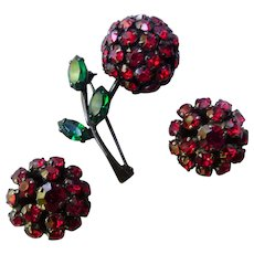 Warner Japanned Red Rhinestone Cherry Pin and Earrings