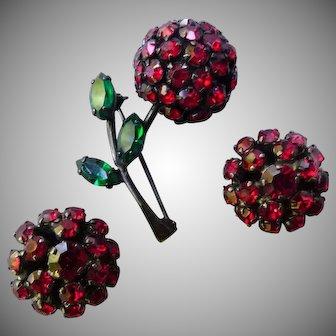 Warner Japanned Red Rhinestone Cherry Pin and Earrings