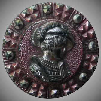Fantastic Vintage 1800's Victorian Lady Iredescent Glass Button