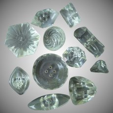 Eleven Vintage Clear Glass Buttons