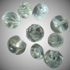 Nine Vintage Round Clear Glass Vintage Buttons