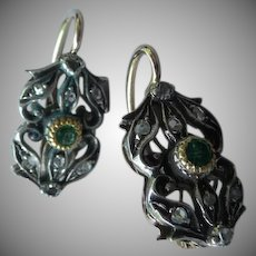 Estate Antique Edwardian Gold Silver Diamond and Emerald Earrings