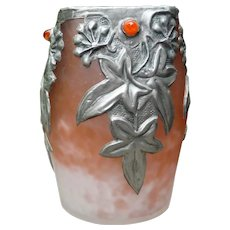 Art Nouveau French Glass Vase with Pewter Overlay