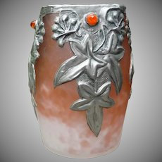 Estate piece...Art Nouveau French Glass Vase with Pewter Overlay