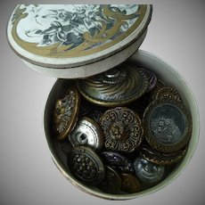 21 Vintage French Buttons in Box