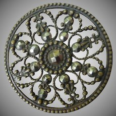Large Victorian Metal and cut Steel Button