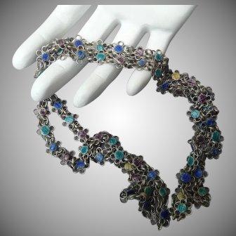 Wonderful Vintage Silver and Enamel Flower linked Chain