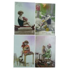 Lot of Four Vintage Child Photo Postcards