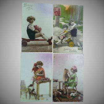 Lot of Four Vintage Child Photo Postcards