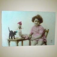 Vintage Child and Kewpie Doll Postcard