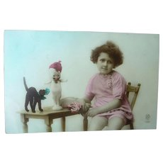 Vintage Child and Kewpie Doll Postcard