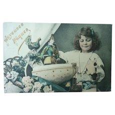 Wonderful Vintage Child Postcard with Easter Treats