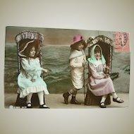 Wonderful Vintage real Photo Postcard of Children at the Seaside