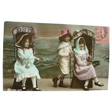 Wonderful Vintage real Photo Postcard of Children at the Seaside