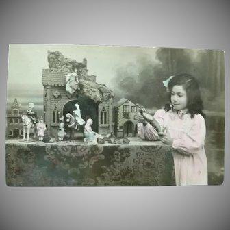Vintage Child Postcard with Nativity