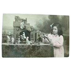 Vintage Real Photo Postcard of Child with Nativity