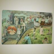 Vintage Multiple Child Train Postcard