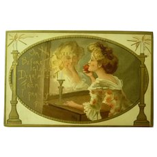Vintage Halloween Postcard of Lady reflecting in Mirror