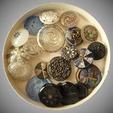 Twenty Gorgeous Glass Vintage Buttons