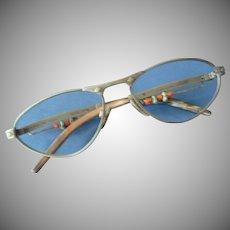 Late 1970's Silhouette Metal and Bead Eyeglasses