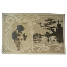 Vintage French Halloween Postcard of the Actress Yvonne Garrick near a haunted Lake