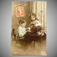Wonderful Vintage French Photo Postcard of Children Typing a Story