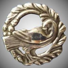 Vintage Silver Dove Pin