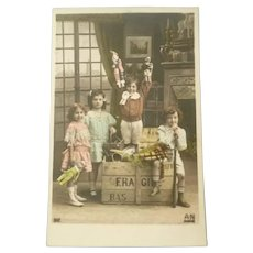 Wonderful Photo French Postcard of Children with Toys