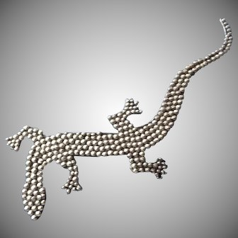 Large silver Vintage Lizard Pin