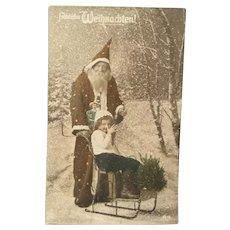Wonderful Real Photo Vintage German Christmas Postcard of Santa and Little Girl