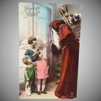 Vintage French Real Photo Red Santa Postcard