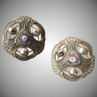 A Pair of VintageFrench Enamel Buttons