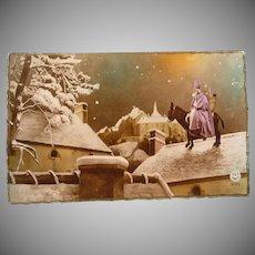 Vintage French Real Photo Father Christmas Santa Postcard