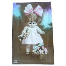Vintage Real Photo Kewpie Doll Postcard with Google Eyes