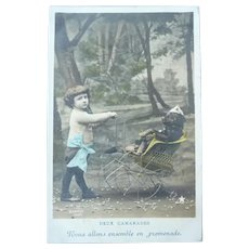 Vintage Real Photo Postcard of Tinted Child Pushing His Dog