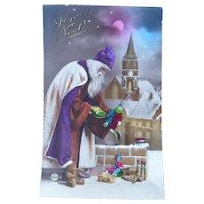 Wonderful Vintage Real Photo Postcard of Santa on a rooftop