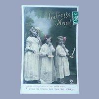Vintage Christmas French Photo Postcard of Three Girls