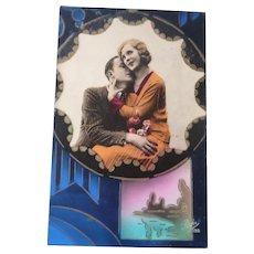 Vintage Art Deco Lover's Postcard