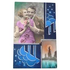 Wonderful Art Deco Vintage Postcard of Lovers