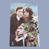 Art Nouveau Bonne Annee Postcard of Lovers