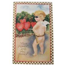 Vintage Valentine card of Cupid
