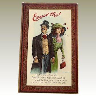 Vintage Humorus Valentine Postcard of Couple