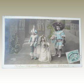 Vintage Real Photo 1906 Doll Wedding Postcard