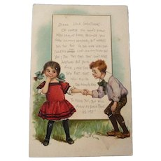 Early 1920's Valentine Poetic Postcard of two Children