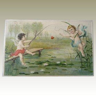 Wonderful Vintage Cupid Valentine Postcard