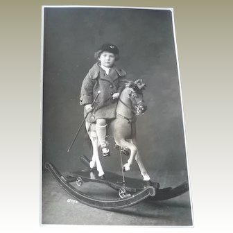 Woderful Vintage Photo Postcard of a little boy on his Rocking Horse