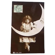 Vintage Real Photo Postcard of Edwardian girl and The Crescent Moon
