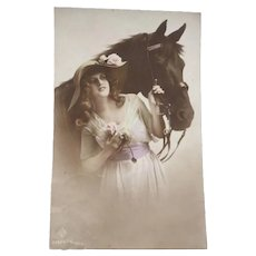 Wonderful Photo Postcard of an Edwardian lady and her Horse