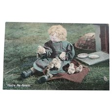 Vintage English early 1900's child and chicks postcard